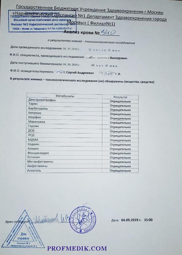 Купить результаты анализа на наркотики в Москве с доставкой